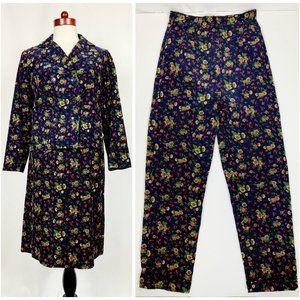Vintage 60s Floral Corduroy 3 Piece Suit XS/S